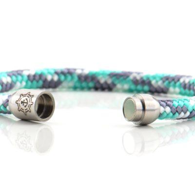 Armband aus Segeltau Damen gruen grau