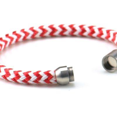 Armband aus Segeltau für Damen rot weiß