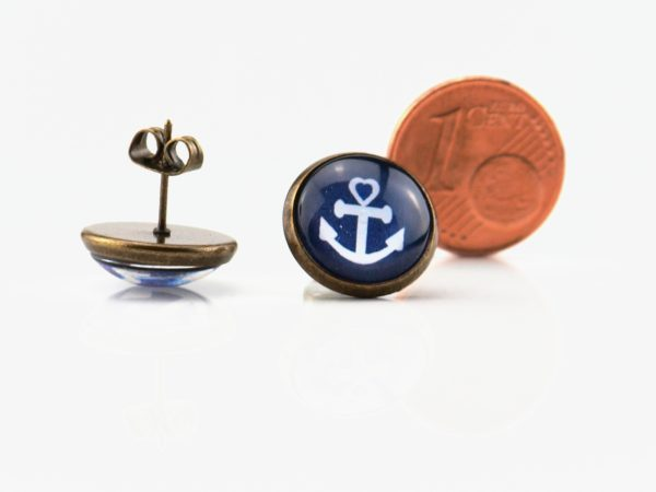 Maritime Ohrringe Anker Weiss
