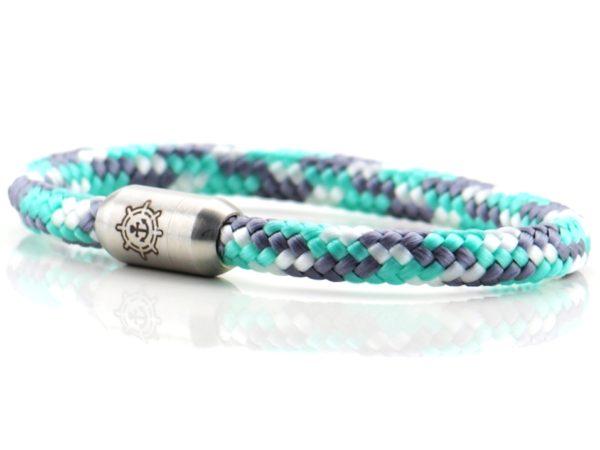 Armband aus Segeltau Damen grau gruen