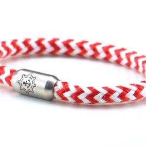 Armband aus Segeltau Damen rot weiß