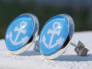 Ohrstecker maritim, Anker, blau, weiß
