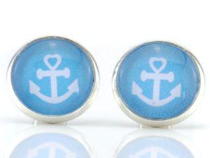 Ohrstecker maritime, Anker, blau, weiß