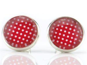 Ohrstecker maritim, rot, weiß, Punkte