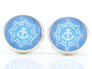 Ohrstecker maritim, blau, Steuerrad