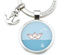 Schlüsselanhänger Schiffchen blau Küstenglück