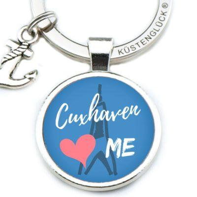 Schlüsselanhänger Spruch Cuxhaven blau Küstenglück