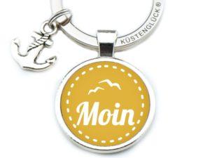 Schlüsselanhänger Spruch Gelb Moin Küstenglück frei