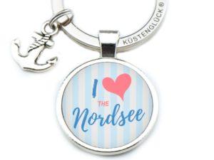 Schlüsselanhänger Spruch I love Nordsee blau Küstenglück