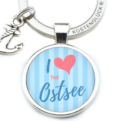 Schlüsselanhänger Spruch I love Ostsee blau Küstenglück