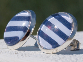 Ohrstecker maritim, gestreift, blau, weiß