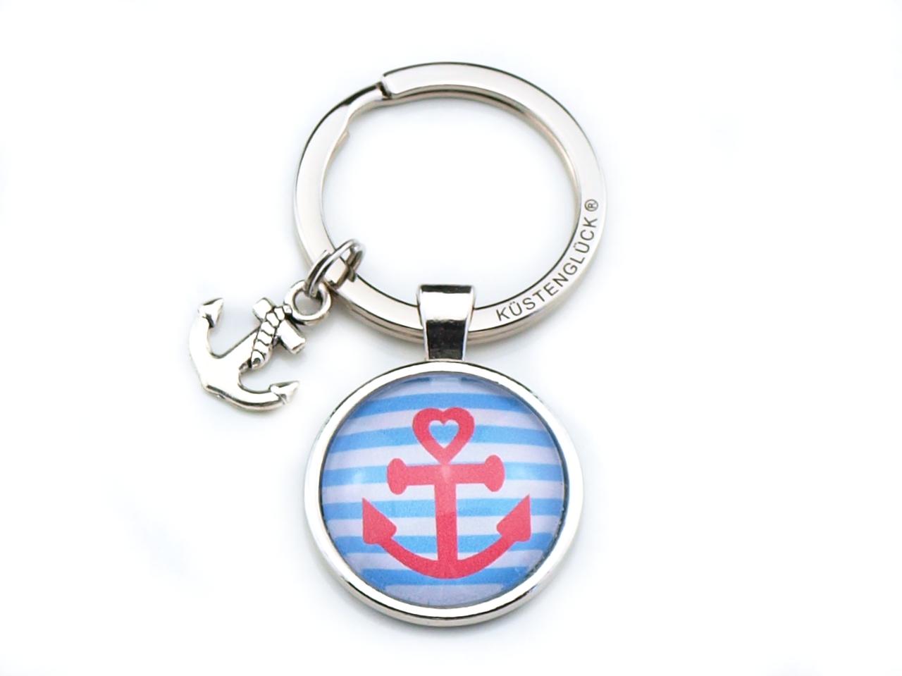 Schlüsselanhänger Anker rosa, blau, Küstenglück