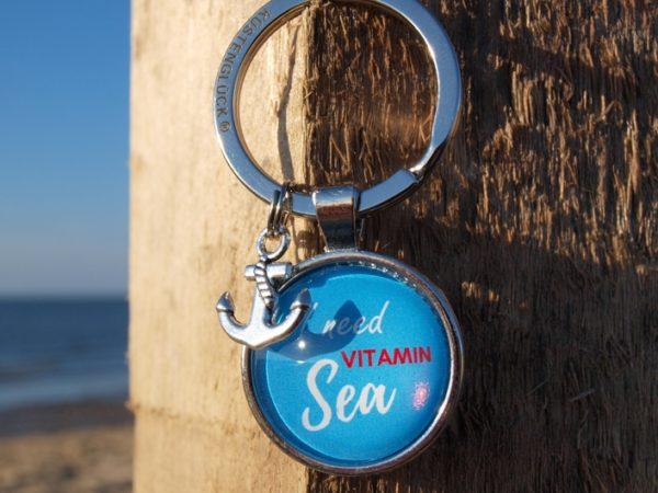 Schlüsselanhänger Spruch, Meer, blau, Küstenglück