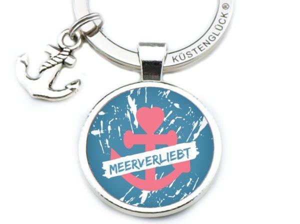 Schlüsselanhänger Spruch Meerverliebt blau Küstenglück