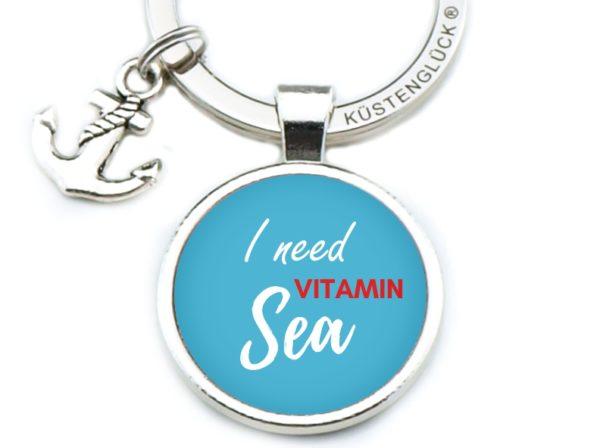 Schlüsselanhänger Spruch Vitamin Sea blau Küstenglück