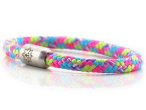 Damen Armband aus Segeltau pink, blau, neon grün