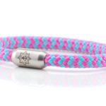 Armband aus Segeltau Damen hellblau, rosa