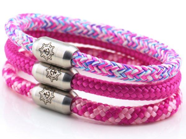 Armbänder aus Segeltau für Damen pink, rosa, rot
