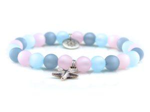 Perlenarmband Damen rosa, blau, grau Küstenglück1