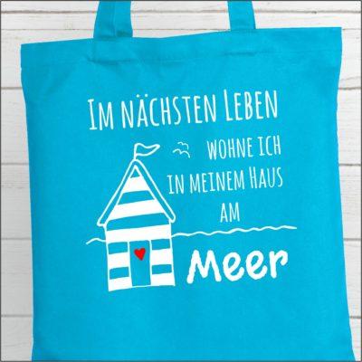 Strandtasche Hellblau Spruch Haus am Meer Küstenglück