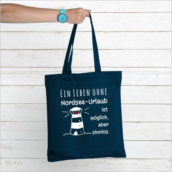 Baumwolltasche Navy Spruch Nordsee Küstenglück neu