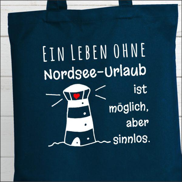 Baumwolltasche Navy Spruch Nordsee Küstenglück