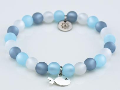 Perlenarmband Damen hellblau, grau, weiß Küstenglück 1