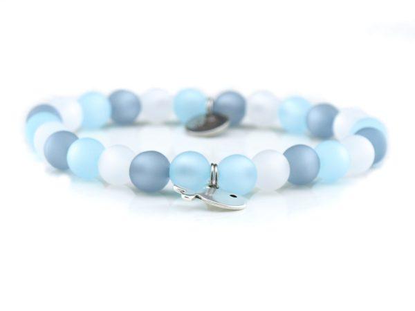 Perlenarmband Damen hellblau, grau, weiß Küstenglück