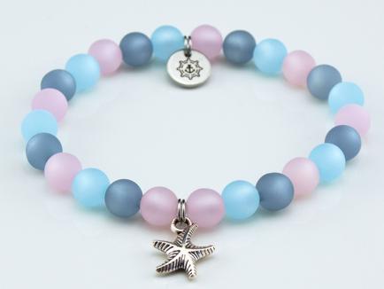 Perlenarmband Damen rosa, blau, grau Küstenglück2