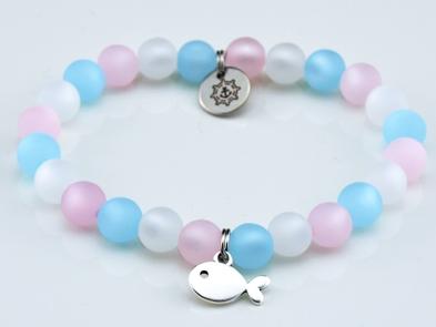 Perlenarmband Damen rose, weiß, blau Küstenglück 2