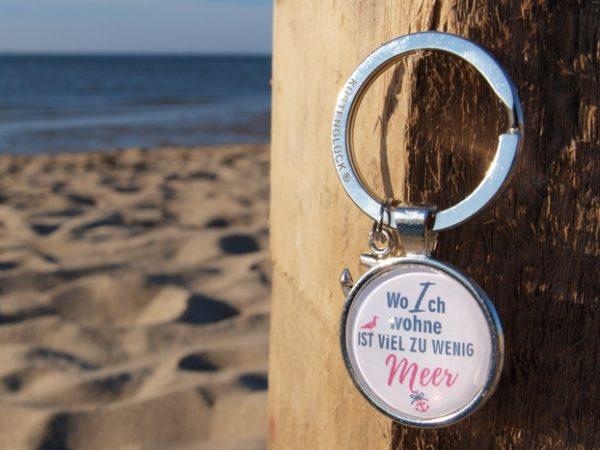 Schlüsselanhänger Spruch, Meer, blau, weiß, Küstenglück
