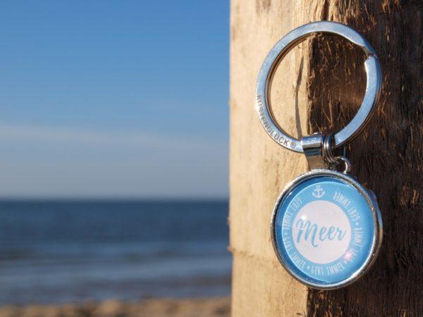 Schlüsselanhänger Spruch, hellblau, Küstenglück