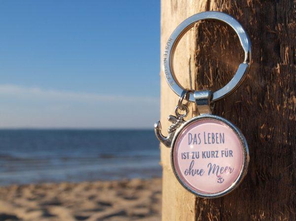 Schlüsselanhänger Spruch, Meer, rosa, Küstenglück