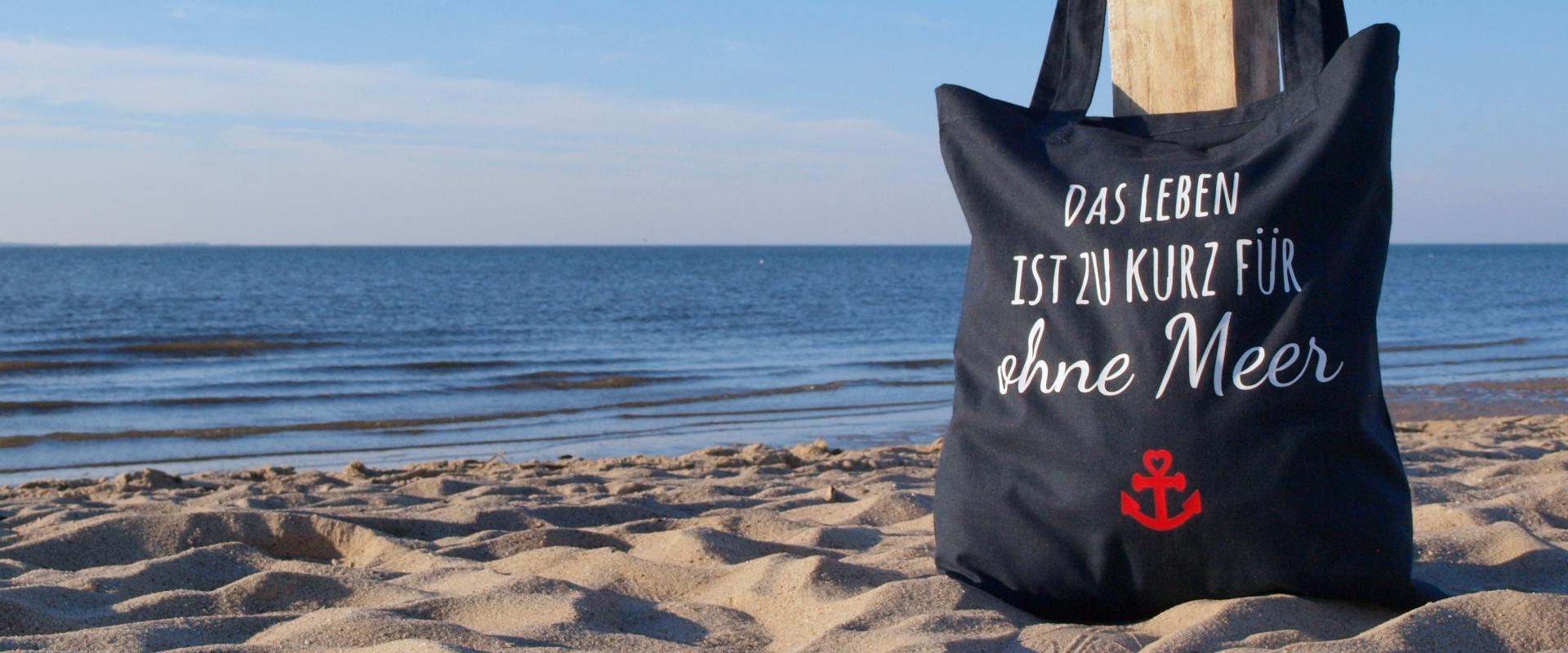 Stofftasche Sprüche Meer Küstenglück