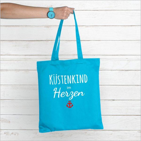 Strandtasche Hellblau Spruch Küstenkind Küstenglück