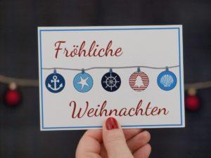 Postkarte Weihnachten Küstenglück Kugeln