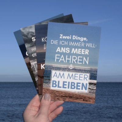 Postkarte XL Spruch 4er-Pack Küstenglück