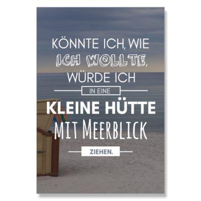 Postkarte XL Spruch Hütte am Meer Küstenglück