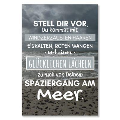 Postkarte XL Spruch Spaziergang am Meer Küstenglück