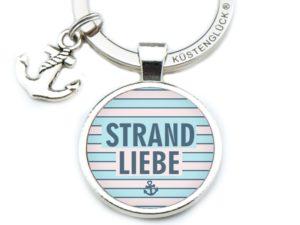 Schlüsselanhänger Spruch Strand Liebe rosa-blau Küstenglück