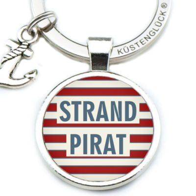 Schlüsselanhänger Strand Pirat rot, weiß, Küstenglück