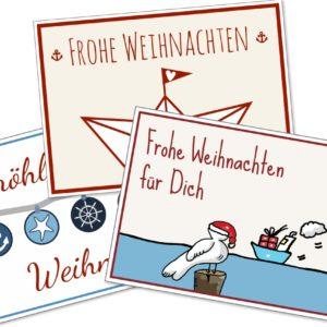 Postkarte Weihnachten 3er-Set Küstenglück