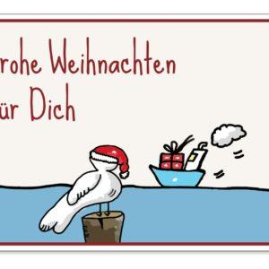 Postkarte Weihnachten Möwe Küstenglück
