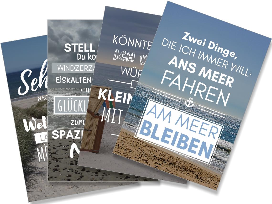 Postkarte XL Spruch 4er-Fächer Küstenglück