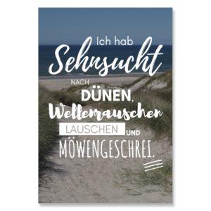 Postkarte XL Spruch Sehnsucht Küstenglück