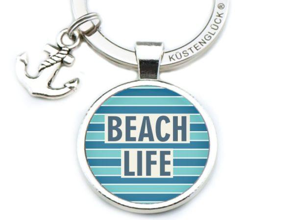 Schlüsselanhänger Spruch Beach Life, türkis-blau, Küstenglück frei