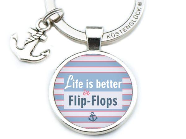 Schlüsselanhänger Spruch Flip Flops rot-blau Küstenglück
