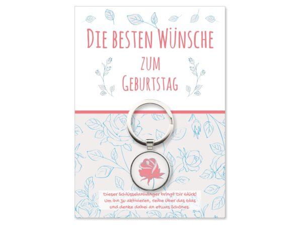 Glücksbringer Schlüsselanhänger Rose Geburtstagsgeschenk Küstenglück