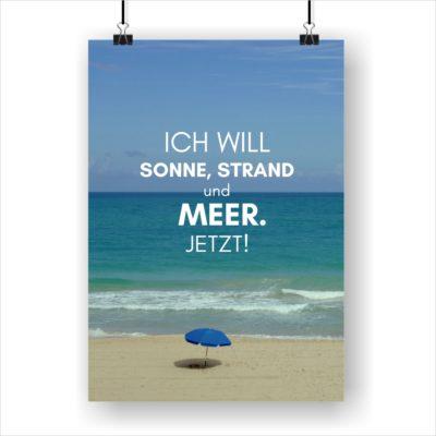 Meer Sprüche Poster Strand Meer Ich Will Küstenglück