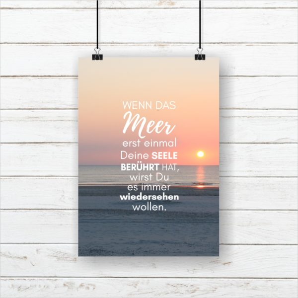 Meer Sprüche Poster Strand Meer Seele Berühren Küstenglück